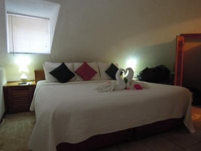 The bed in our suite at Xanadu Resort in San Pedro Belize